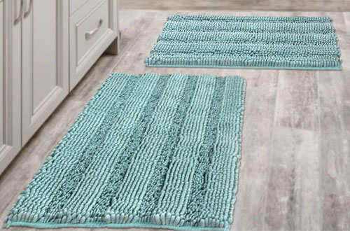H.VERSAILTEX Indoor Non-Slip Thick Shaggy Chenille Bathroom Rugs