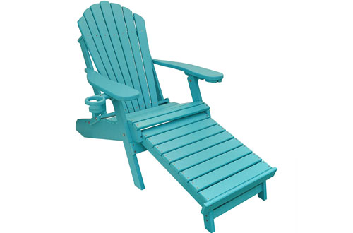 ECCB Outdoor Deluxe Oversized Poly Folding Wood Adirondack Chair