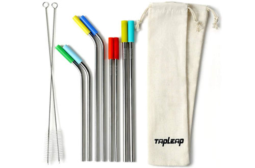 Tapleap Portable Reusable Metal Straws with Carrying Bags