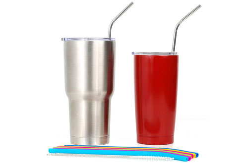 REGULAR SIZE Silicone Straws for Tumbler and Metal Straws Bundle