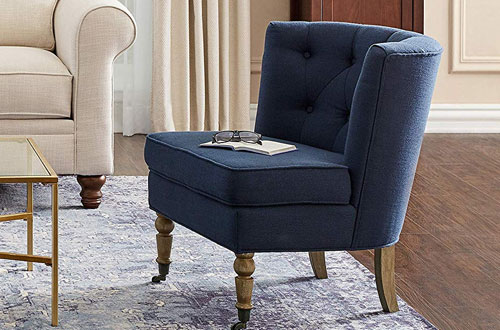 Ravenna Home Armless Blue Accent Chair with Wood Leg