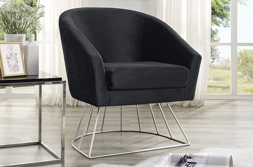 Adalene Modern Black Velvet Accent Chair with Silver Metal Base