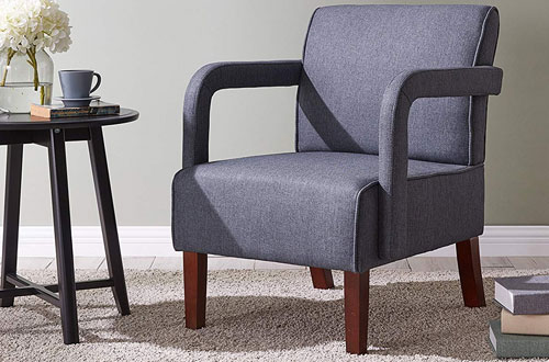 IDS Modern Fabric Dark Grey Armchair and Accent Chair with Wood Leg