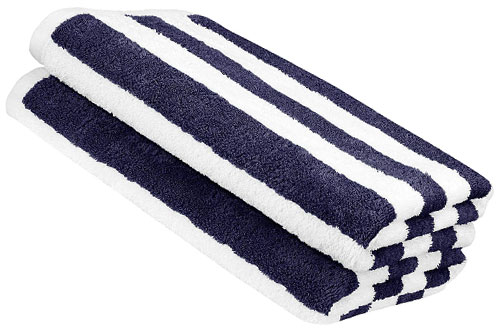 AmazonBasics Cabana Stripe Cute Beach Towel - Navy Blue