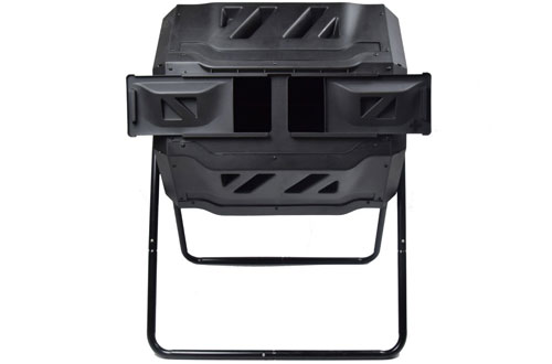 EJWOX Outdoor Compost Bin Tumbler with Chambers - 43 Gallons