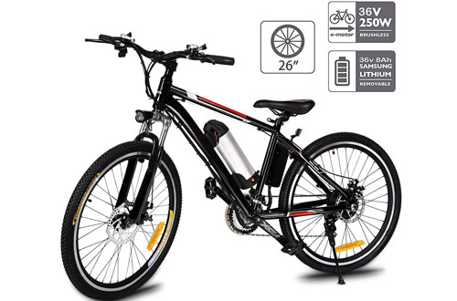 Aceshin 26-Inch Electric Mountain Bike with Removable Lithium-ion battery