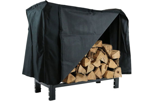 "Sunnydaze 30"" Indoor Wood Firewood Log Rack with Cover"