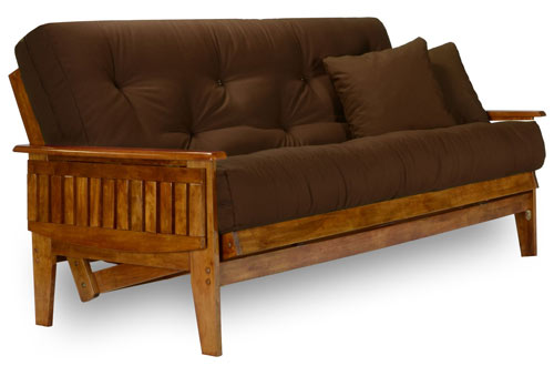 Nirvana Queen Size Wood Futon Set with Mattress and Microfiber Sussex Fudge Cover