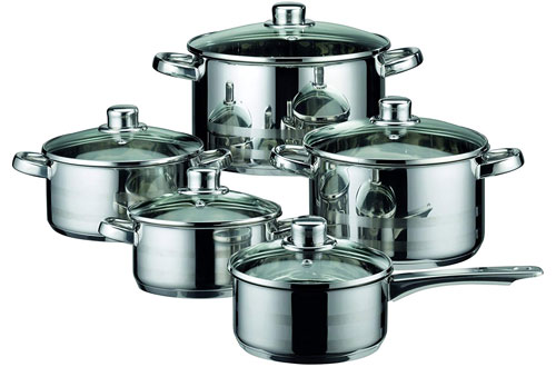 ELO Skyline Stainless Steel Kitchen Induction Pots and Pans with Lids