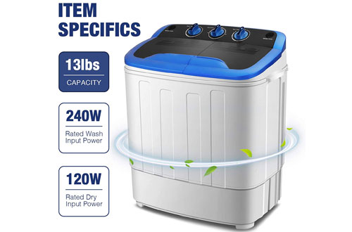 KUPPET Washing Machine - Mini Compact Twin Tub Washer Spin Dryer