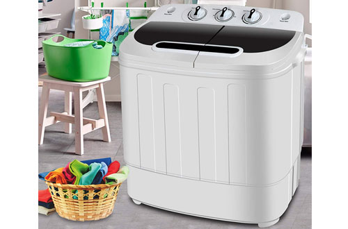 SUPER DEAL Portable Mini Twin Tub Washing Machine with Wash & Spin Cycle