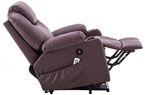 Mcombo Brown Electric Power Lift Massage Recliner with Remote Control