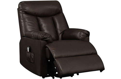 Domesis Brown Renu Leather Wall Hugger Power Lift Chair Recliner