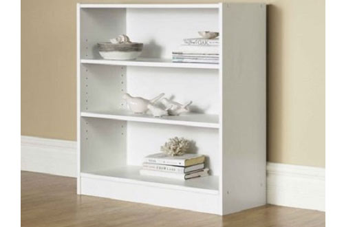 Orion Wide 3-Shelf White Bookcase