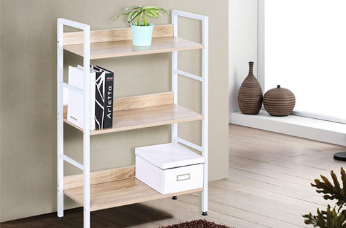 WOLTU White Corner Small Beautiful Wood Bookcase for Office and Home
