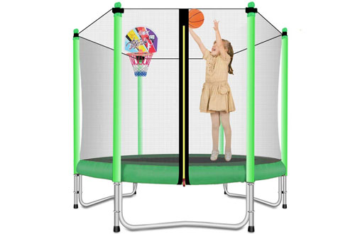 Lovely Snail Trampoline with Basket Hoop for Kids
