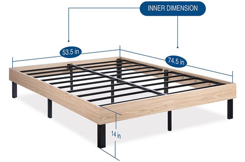 "Olee Sleep 14"" Full Wood Platform Bed Frame"