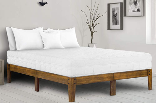 "Ecos Living 14"" High Rustic Solid Wood Platform Bed with Natural Finish"