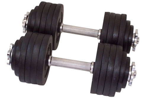 One Pair of Cast Iron Adjustable Dumbbells  - 105lbs