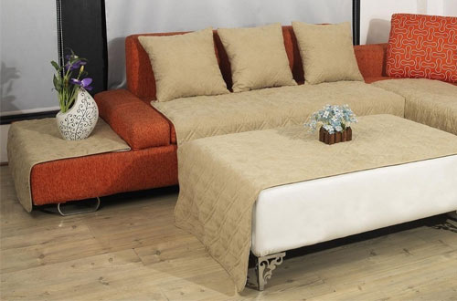 FineHome Quilted Classic Micro Suede Sectional Chaise Lounge Chair Sofa