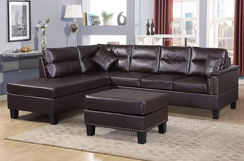 Harper and Bright Sectional PU Leather Cushions Set with Ottoman