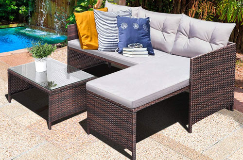 Tangkula 3 PCS Outdoor Patio Garden Rattan Furniture Sofa Lounge Chaise