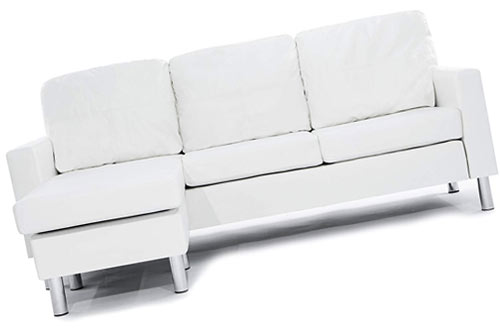 Modern Bonded White Leather Sectional Sofa - Small Space Configurable Couch