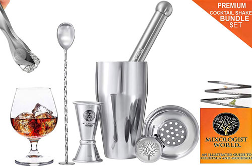 Premium Cocktail Shaker Bartender Kit - 24 Ounces Bar Set Built-in Strainer