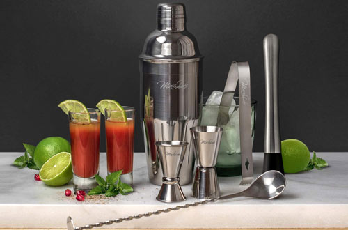 Stainless Steel Cocktail Shaker Set With Strainer, Muddler, Two Jiggers & Bar Spoon