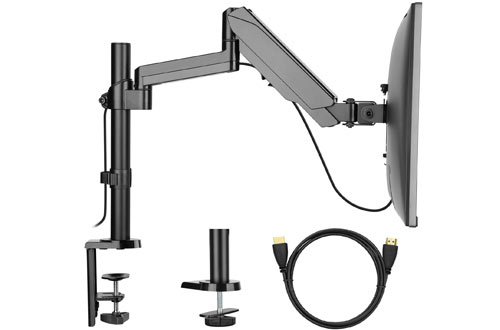 Monitor Mount Stand – Adjustable Single Arm Desk VESA Mount with Clamp