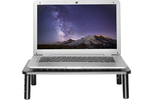 Premium Laptop PC Monitor Stand with Sturdy, Stable Black Metal Construction