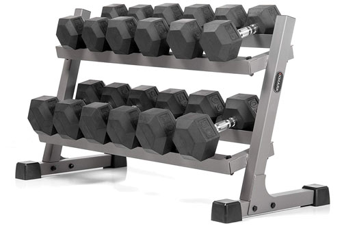 XMARK Heavy Duty 2 Tier Dumbbell Rack - Optional Hex Dumbbell Sets