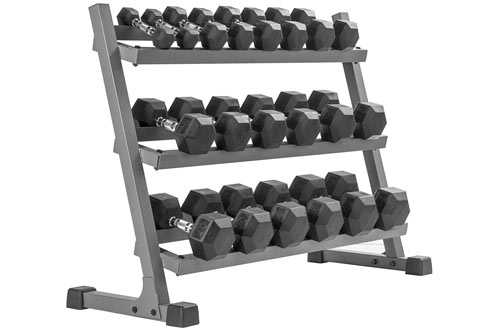 XMARK Heavy Duty 2 or 3 Tier Dumbbell Rack - 350 lbs. to 550 lbs Hex Dumbells Sets