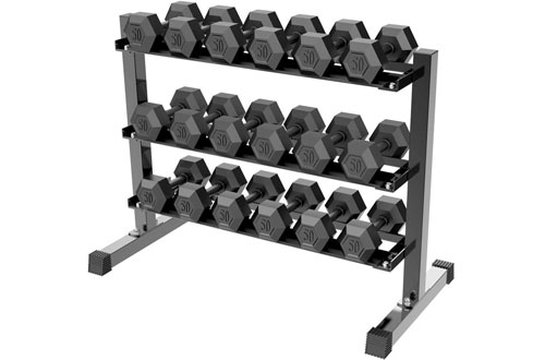 Yaheetech 3-Tier Horizontal Dumbbell Rack for Home Gym