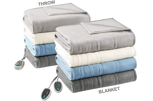 Beautyrest – Full-Size Heated Fleece Blanket and Throw Combo Set