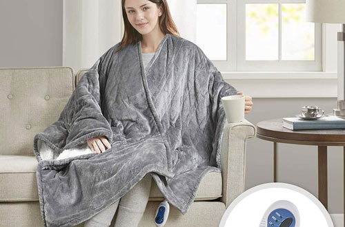 Comfort Spaces Electric Heated Throw Blanket Wrap Ultra Soft Warm Plush
