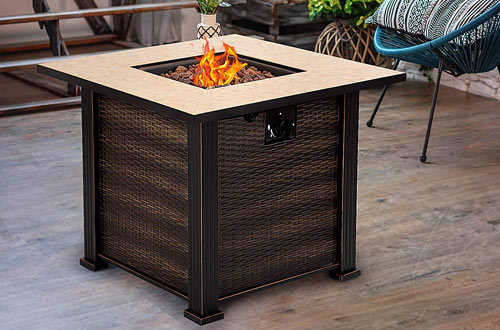 Giantex 30-Inch Square Propane Gas Fire Pit Table with Protective Cover