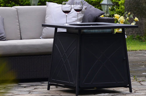 BALI OUTDOORS Square Firepit LP Gas Fireplace Table