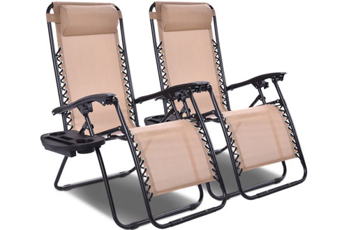 Giantex 2 PCS Zero Gravity Chair Patio Chaise Lounge