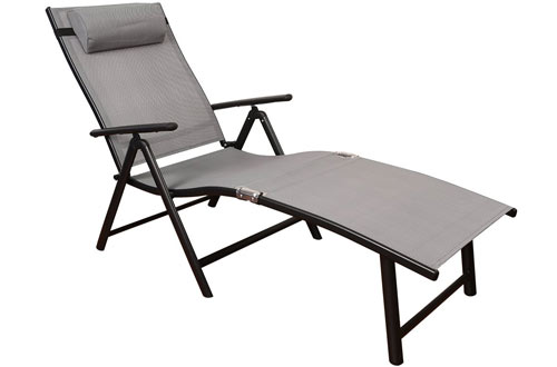 TOUCAN Outdoor Deluxe Aluminum Beach Folding Chaise Lounge