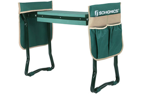 SONGMICS Folding Garden Kneeler - Folding Bench Stool with Kneeling Pad for Gardening