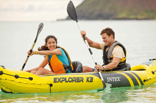 Intex Explorer K2 Inflatable Kayak with Aluminum Oars and Air Pump