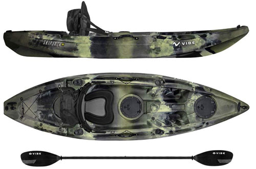 Vibe Kayaks Skipjack Fishing Kayak with Paddle Deluxe Kayak Seat