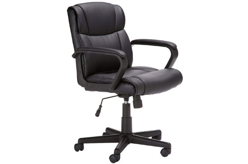 AmazonBasics Classic Black Leather Office Chair with Armrest