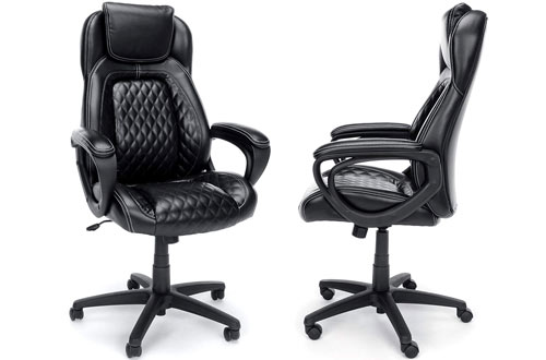Essentials Black Leather Office Chair with Fixed Arms