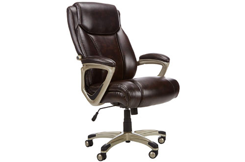 AmazonBasics Big and Tall Brown Leather Executive Chair