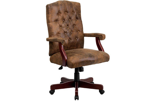 Flash Furniture Bomber Brown Leather Executive Office Chair with Arms