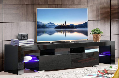 SUNCOO TV Stand Media Console Cabinet LED Shelves with Drawers