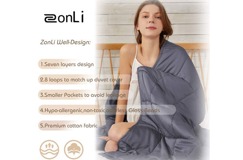 ZonLi Premium Cotton Weighted Blanket 20lbs for Adults