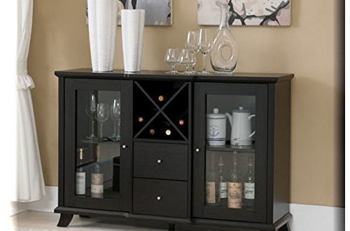 Cappuccino Multi-Storage Dining Buffet Drawers and Wine Bottle